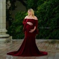 Maternity Dress Photo Shoot Maternity Gown Ruffle Sleeve Maternity Mercerized Cotton Gown Elegant Maternity Photography Props