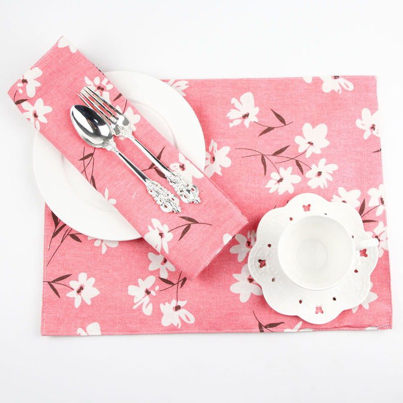 Japanese Double-deck Washable Cherry Blossoms Cotton Linen Placemat Dining Table Mat Dish Pads Bowl Pad Napkin Photography Decor