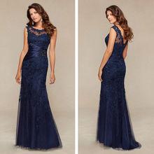 Azul real 2018 Madre de la novia vestidos sirena con cuentas encaje novio vestidos largos de Noche vestidos para madres para la boda