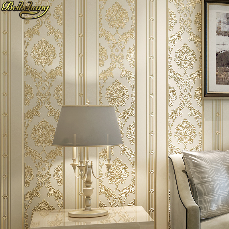 beibehang European Luxury Damask wallpapers for living room Embossed Textured 3D Wallpaper Rolls wall papers home decor bedroom диск обрезиненный d26мм mb barbell mb pltb26 20кг черный