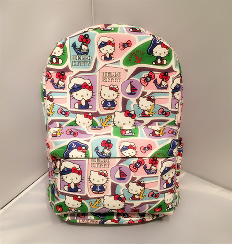 Hello Kitty navy hello Kitty cute cartoon KT cat canvas backpack bag of primary and middle school studentsHello Kitty navy hello Kitty cute cartoon KT cat canvas backpack bag of primary and middle school students