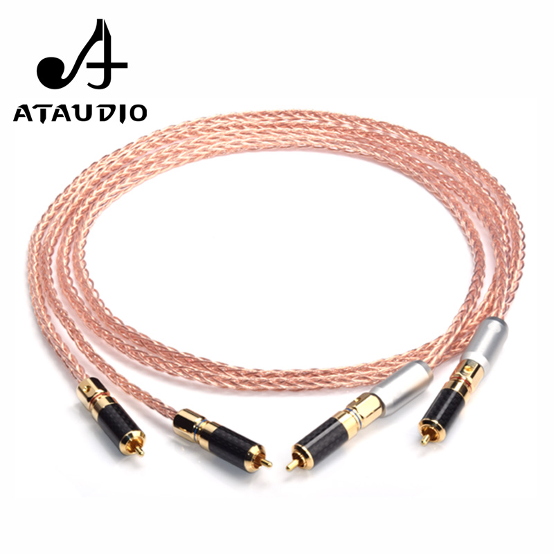 ATAUDIO 7N OCC Hifi RCA Cable HiFi System subwoofer Converter Adapter DJ Equipment TV Amplifier Speaker