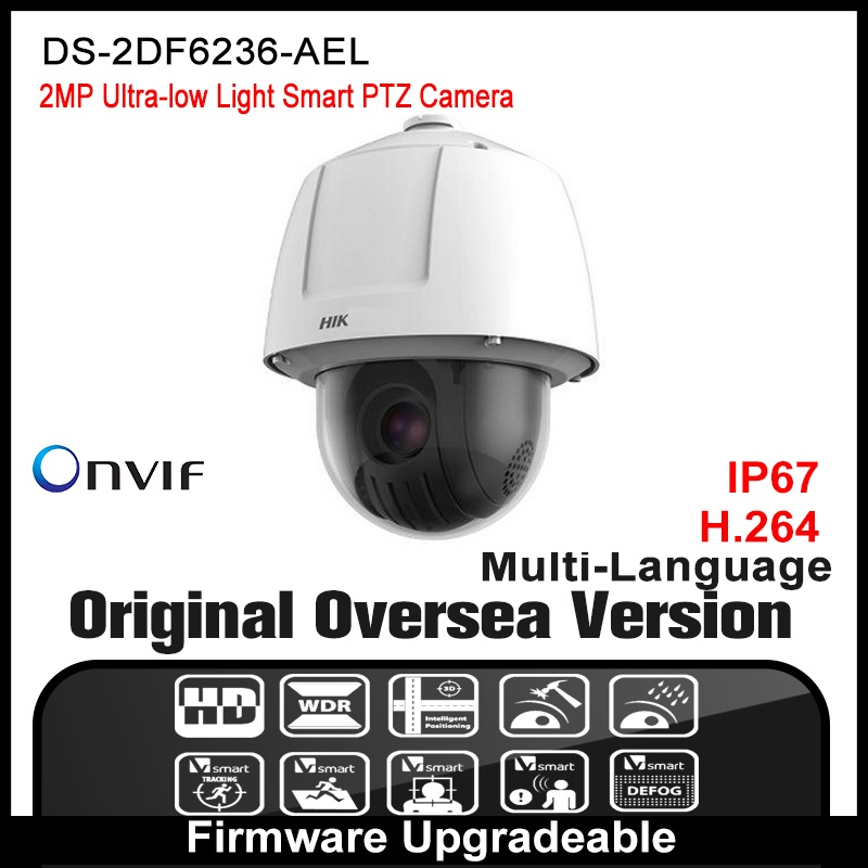 Hikvision  DS-2DF6236-AEL Original English version 2MP PTZ Speed Dome IP camera CCTV camera security camera POE ONVIF P2P  HD hikvision ds 2ae5123t a original english version 2mp ptz ip camera cctv security camera surveillance poe onvif 4k hd network