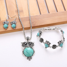 Best Set of 3pcs Vintage Owl Pendant Necklace Cheap