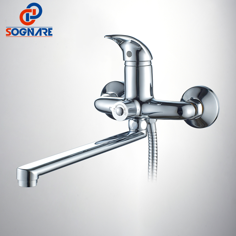 SOGNARE 1 Set Wall Mounted Bathtub Shower faucets Set Single Handle Mixer Tap with ABS Hand Shower Bathroom Faucet Chrome D5127 new shower faucet set bathroom thermostatic faucet chrome finish mixer tap handheld shower wall mounted faucets