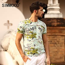 SIMWOOD Brand 2016 New Mens T shirt Summer Short sleeve O-neck Print Slim Casual Men Tops Tee Plus Size Free Shipping TD1082