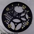 Трехмерный черный циферблат для часов ETA 38 9  с покрытием из ПВХ  6497 мм  подходит для ручных намоток D34