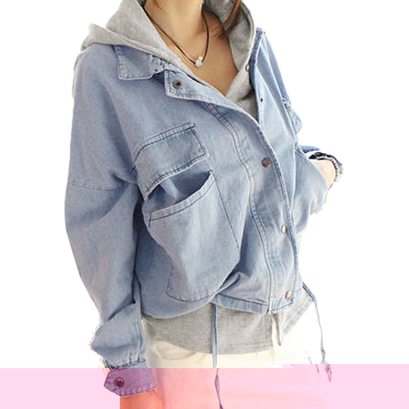 OLGITUM 2017 Winter Hooded Two Pieces Denim Outerwear Coat Jeans font b Jackets b font Spring