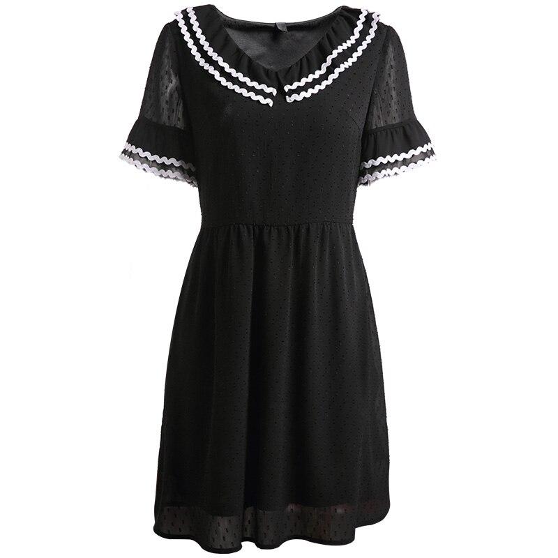 MUSENDA Plus Size Women Black Chiffon Tunic Dress 2018 Summer Sundress  Female Ladies Sweet Beach Dresses Vestido Robe Clothing-in Dresses from  Women s ... be2033cec309