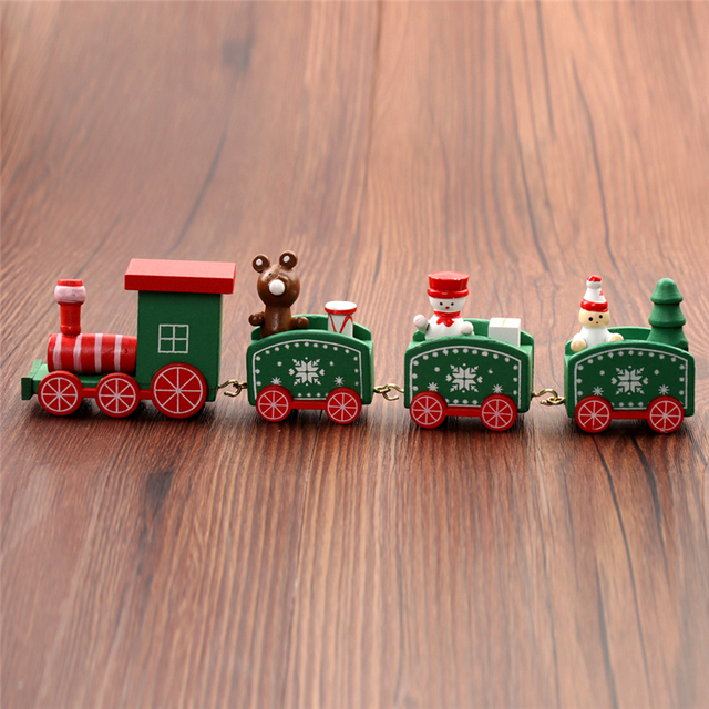 Christmas Train Painted Wood Decoration