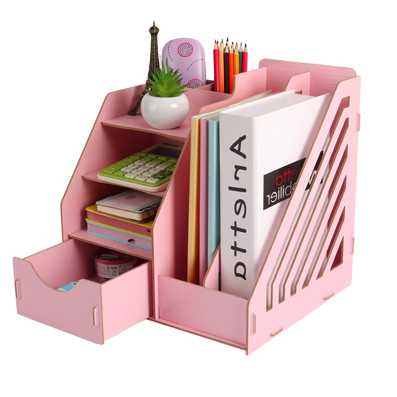 Wood Stationery Holders Multi Use Desktop Storage Paper Holder Stationery Organizer With Drawer Rack Office School Supplies