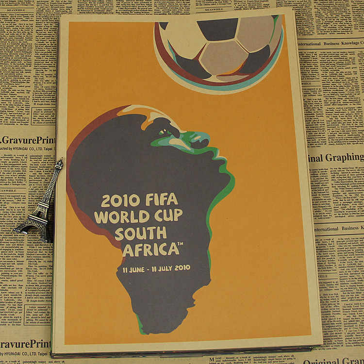 "Large Vintage ""2010 South Africa World Cup"" Football Poster Home Decoration Wall Sticker Wall Chart Retro Matte Kraft Paper"