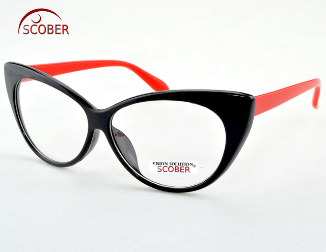 43021f8812d SCOBER   Fashion Cat s Eye Reading glasses Black And Red Frame Anti-fatigue  Coated Lens