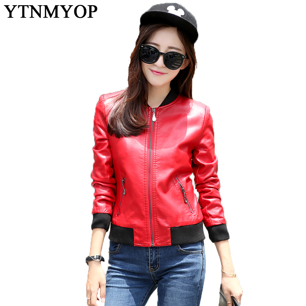 Spring And Autumn Casual Women   Leather   Coat Red Plus Size S-3XL Slim   Leather   Clothing Outerwear 2019 Long Sleeve Female Jackets