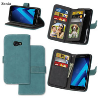 SFor Samsung Galaxy A3 2017 A320 Case Luxury Leather Multifunction 9 Cards Wallet Flip Stent Case