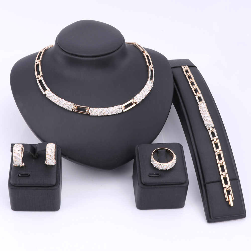 Women African Beads Jewelry Sets Cz Crystal Enamel Necklace Earring Ring Bracelet Jewelry Set Gold Color Statement Accessories
