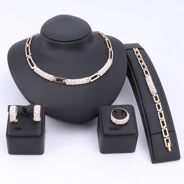 סטי תכשיטי חרוזים אפריקאים נשים Cz קריסטל אמייל אביזרי הצהרת צבע זהב סט תכשיטי שרשרת עגיל טבעת צמיד