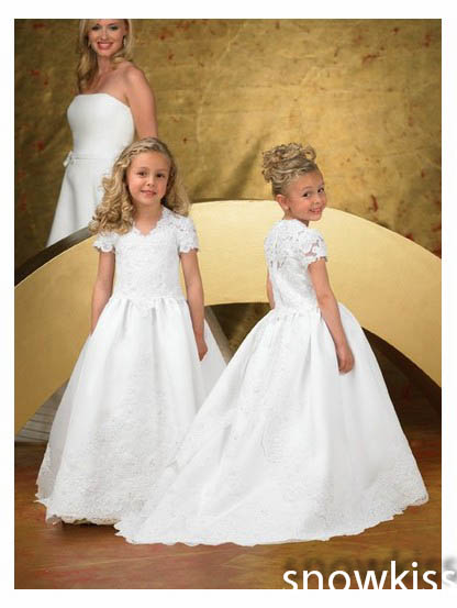 New coming white/ivory fist communion flower girl dresses V-neck short cap sleeve lace appliques ball gowns for wedding party цены онлайн