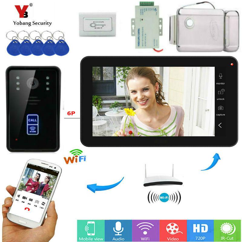 9 pouces moniteur RFID interphone vidéo Wifi sans fil vidéo porte téléphone sonnette caméra interphone système avec alimentation serrure de porte