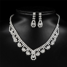 Classic Costume Design Nigerian Water Drop Earring Wedding Jewelry Sets inlay Fashion Crystal Bridal Set Copper Alloy