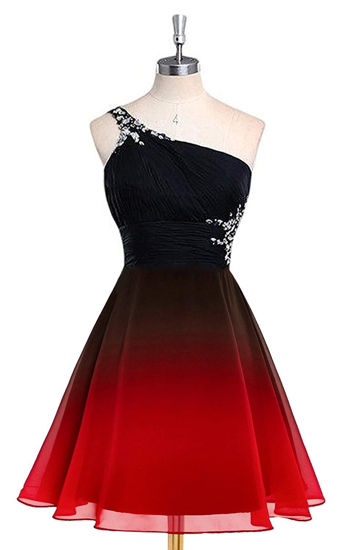 Bealegantom 2019 Gradient Chiffon Short Prom Dresses Ombre Beads Evening Party Gowns Homecoming Graduation Dress QA1561