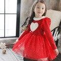 Girl Dress 2017 New fashion children long sleeve cute Dress girls velvet dress