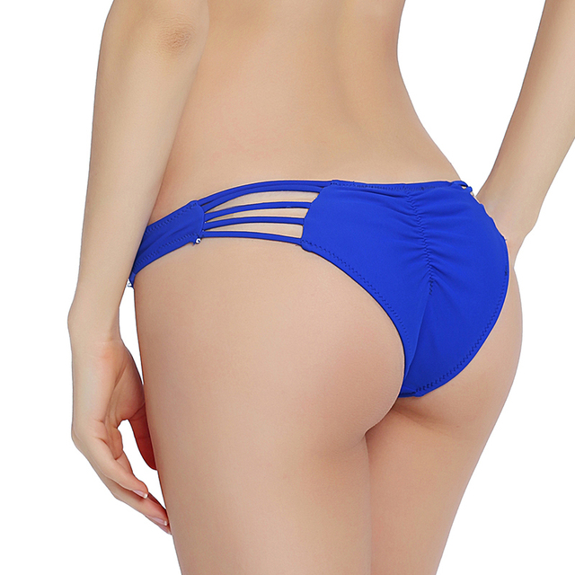 Sexy Solid Bikini Bottom Women Scrunch Tie Side Swimsuit Cheeky Swimwear  Micro Bodysuit Mini Brazilian Thong Briefs Panty Bikini a5b956b782