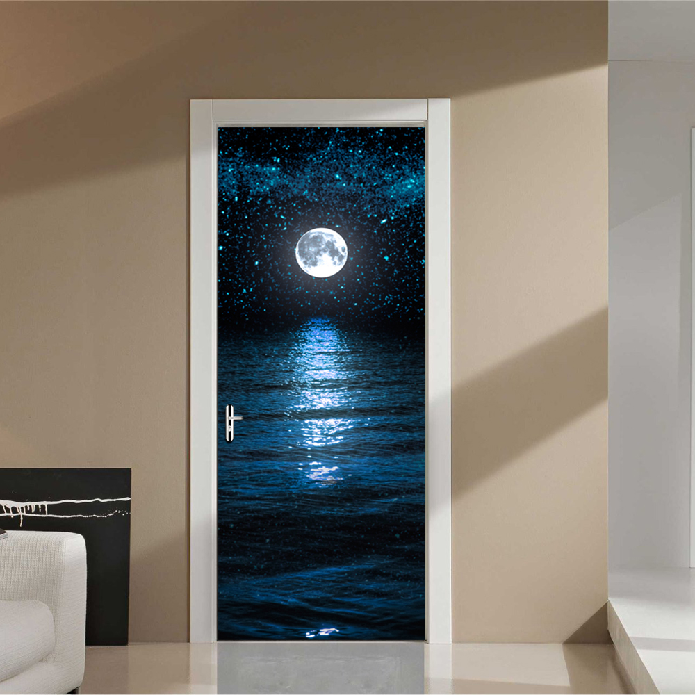 Moon Stars Wallpaper Waterproof Mural Poster Bathroom Door Sticker Renovation Wall Art Imitation 3D DIY Wall Sticker Decorations