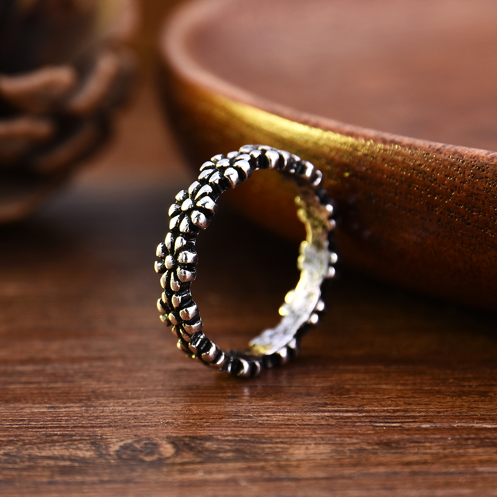 Hot Fashion Vintage Daisy Flower Tail Ring For Women Jewelry Accessories Wedding Proposal Jewelry Wholesale Anillos Mujer Modern