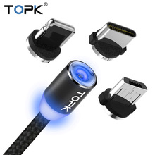 TOPK LED Magnetic USB Cable For iPhone 6 7 8 Plus 5s SE iPad Air Charger Cable USB Type C & Micro USB Cable Magnetic Adapter