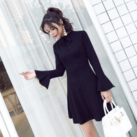 New Autumn Vintage Mini dress Flare Sleeve Slim Firm Offers Her Little Women A Word Dresses Black 9661