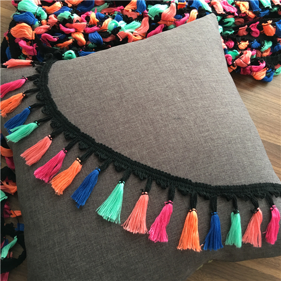 Rainbow tassel lace trim brocade towed head scarf skirt hat diy section dyeing macrame l ...