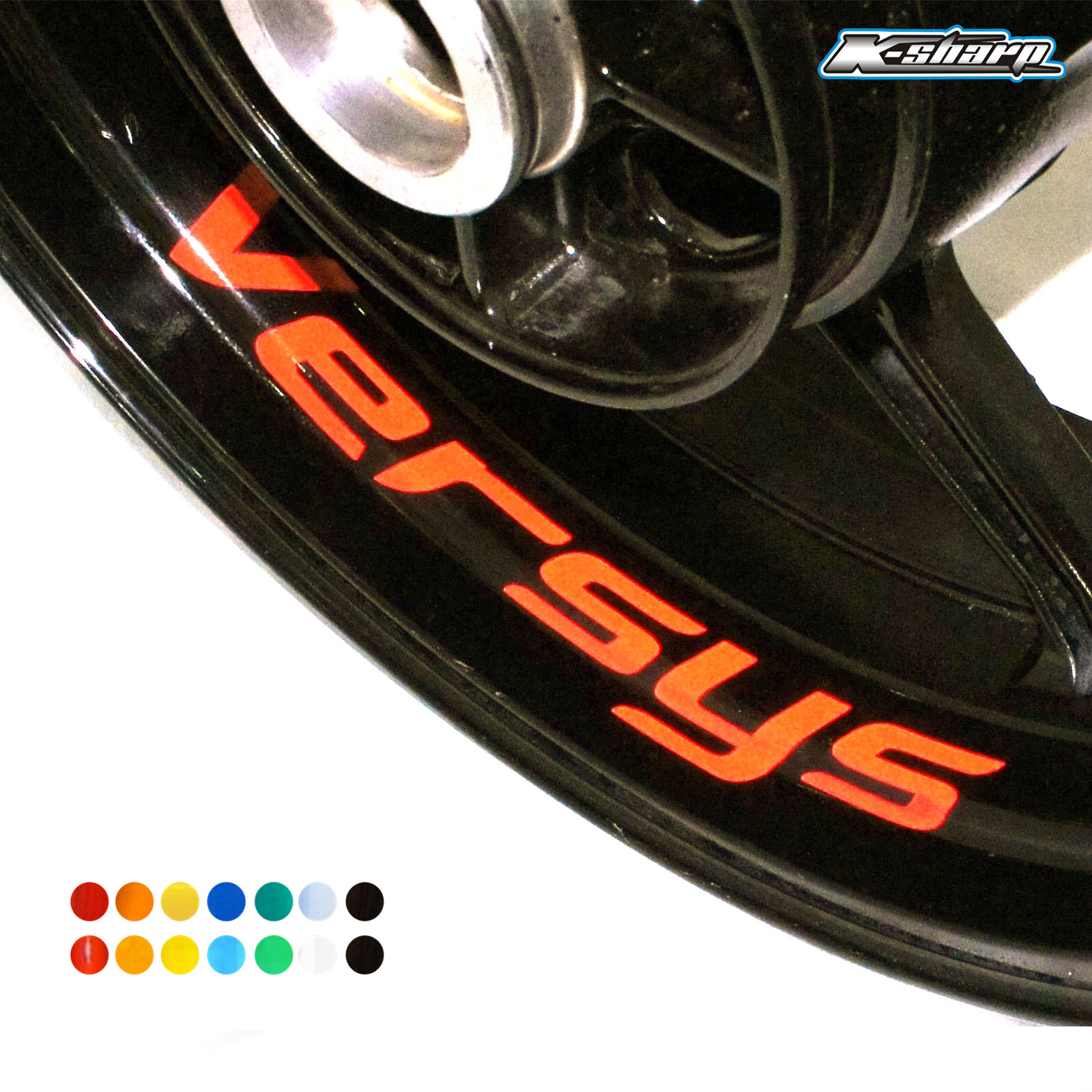 8 X Custon Inner Rim Decals Wheel Reflective Stickers Stripes FIT KAWASAKI VERSYS