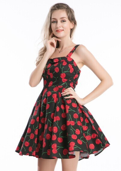 Walson R40 Cherry Rockabilly Dress Retro 40s Style Plus Size Awesome 50s Style Dress Patterns