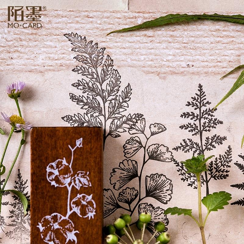 Image 2 - XINAHER ヴィンテージの森植物ムーン装飾スタンプ木製ゴムスタンプためスクラップブッキング文房具 DIY クラフト標準スタンプ    グループ上の ホーム