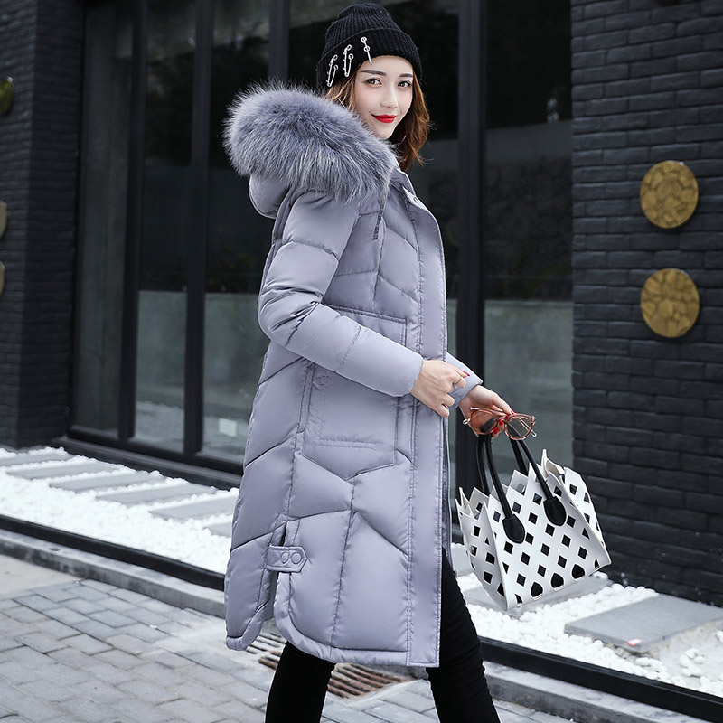 2017 fur collar women winter hooded coat female big size 3XL outerwear parka girls warm long Style slim parkas feminino Pink Red 2017 new women winter jacket long solid color fur hooded slim big size female cotton coat wadded warm parka outerwear ok1006