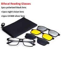 Óculos de leitura bifocal com clip-on magnético óculos de sol polarizados 1.0 1.5 2.0 estilo clássico óculos quadros leitores óculos