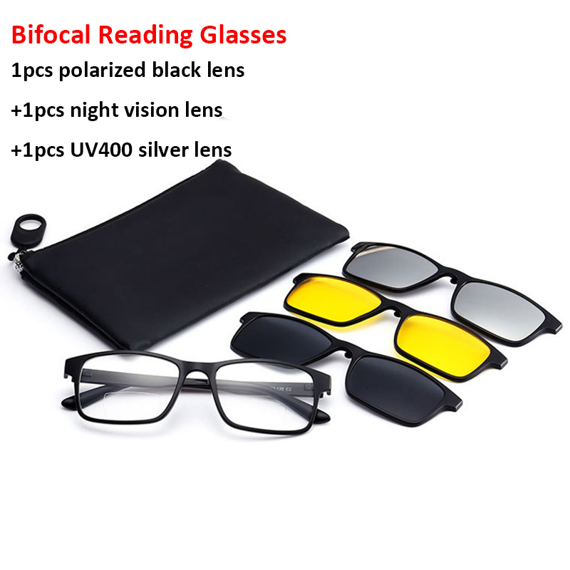 Bifocal Reading Glasses With Magnetic Clip-on Sunglasses Polarized 1.0 1.5 2.0 Classic Style Spectacles Frames Readers Eyeglass