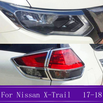 High Quality ABS Chrome Front+Rear Headlight Lamp Cover Trim Car Styling Accessories Fit For Nissan X-Trail T32 /Rogue 2017 2018