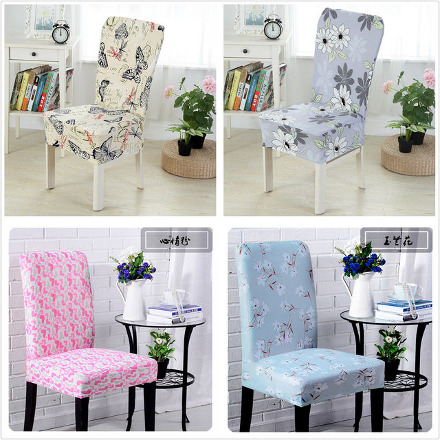Removable Chair Cover Pastoral Elastic Washable Stretch Dining Room Wedding Banquet Seat