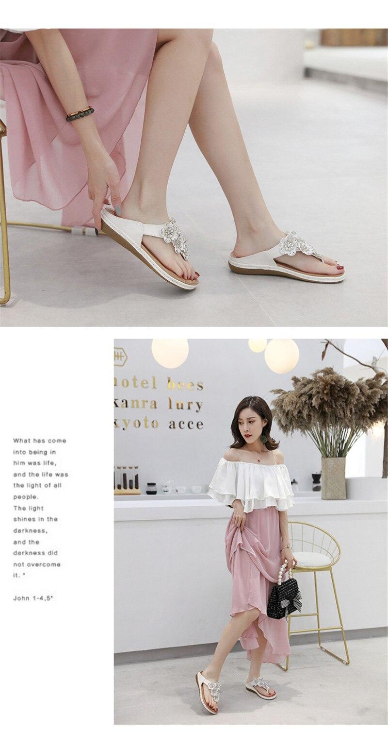New 2019 ethnic women`s sandals cross-border bohemian rhinestones large size comfortable flat shoes beach shoes (17)