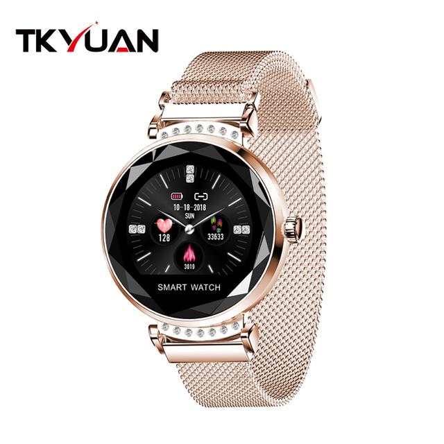 TKYUAN New Fashion H2 Smart Watch Women ladies Waterproof Fitness Tracker Heart Rate Blood Pressure 3D Diamond Glass Best Gift