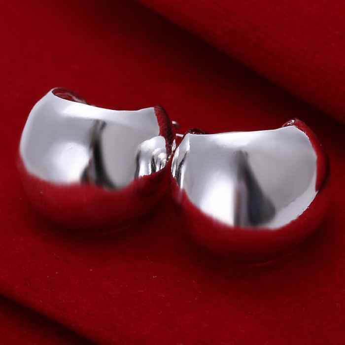 Silver smooth charms women lady cute wedding earring jewelry fashion Light belly earrings Fashion round silver earrings E052