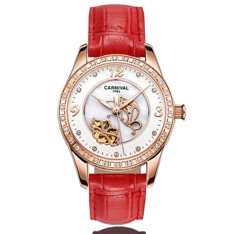 Women Watches Carnival Luxury Brand Watch Women Automatic Mechanical Wrist Watch Sapphire Skeleton relogio feminino C8009L-3 стоимость