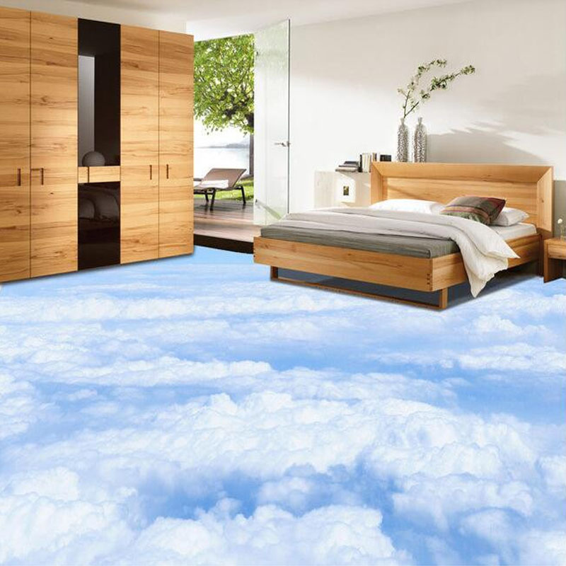 Custom 3d photo wallpaper blue sky white clouds living for Bathroom floor mural sky