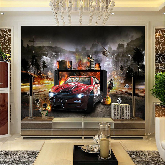Buy wall paper 3d movie story car style for 3d home decoration games
