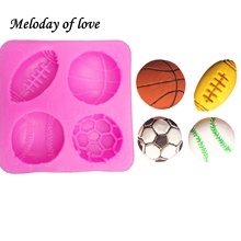 Rugby football basketball tennis cooking tools Christmas decorations silicone mold fondant cake decorating the kitchen