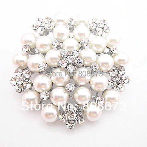 Hot Sale Retail!!Vintage Fashion High Quality Faux Pearl&Crystals Flower Lady Brooch Pin Wedding Bridal Bouquet Breastpins