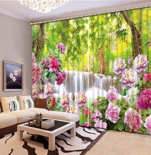 цена на Fashion Customized 3D Curtain Peony Flower Forest Curtain Bedroom Living Office Cortinas Blackout Bathroom Shower Curtain