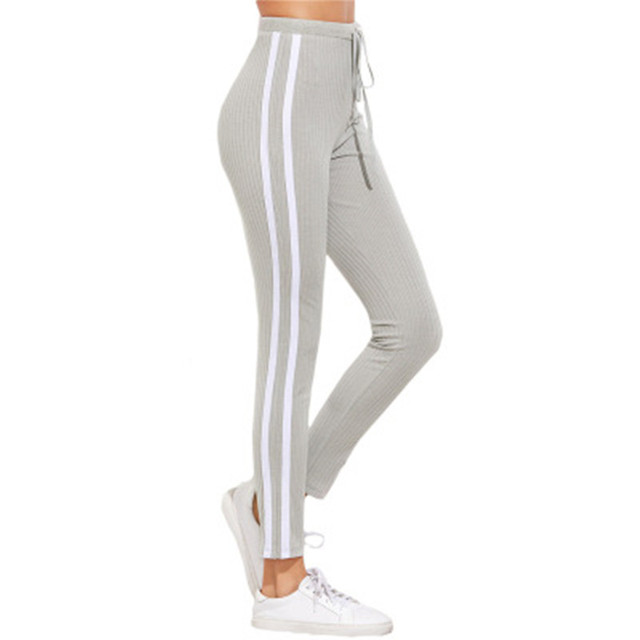 b2389a6a8b2ec5 Women Drawstring Sweatpants Striped Jogger Skinny Pants High Waist Leggings  Grey Streetwear 2019 Top Spring Fashion